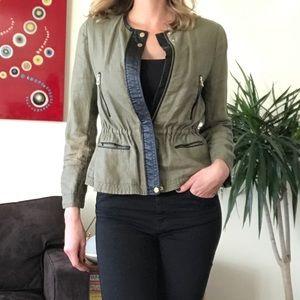 Zara 🖤 Army Green & Vegan Leather Jacket,Utility